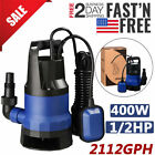400W Sump Pump 1 2HP 2112GPH Submersible Clean Dirty Water Pump w Float Switch