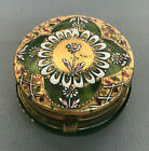 Bohemian Moser Trinket Box Green Glass Brass Hand Painted Enamel  Gold Plated