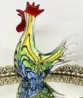 8 Rooster Art Glass Vivid Colors Gorgeous Display Piece Murano