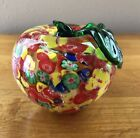Millefiori Style Red Yellow Blue Green Apple Art Glass Paperweight