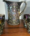 Beautful Imperial Mayflower Carnival Glass Water Pitcher  4 Tumblers