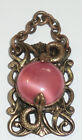Vintage Victorian Deco Pink Satin Glass Cats Eye Serpent Snakes Pendant Necklace