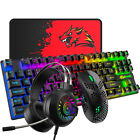 UK Layout Gaming Keyboard Mouse and Headset Set Rainbow Backlit For PC PS4 Xbox