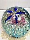 Large art glass paper weight ocean fish and dolphins plus bubbles