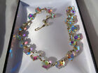 Lovely vintage faceted aurora borealis glass necklace
