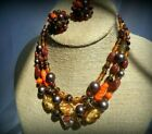 Vintage Jewelry Murano Art Glass 3 Strand Necklace Matching Earrings Fall Color
