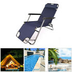Reclining Beach Chair Sun Patio Chaise Lounge Pool Lawn Lounger Foldable Outdoor