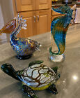Lot Of Three Beautiful Hand Blown Glass Figurines Seahorse Pelican Turtle