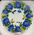 New Signed Peggy Karr Morning Glory Blue Spring Flower Fused Glass Plate 11