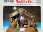 Vintage Sears Nativity Set 10 Figures Wood Stable Made In Italy 97893 w Box