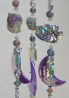 NATURAL GEODE STONES HANGING IRIDESCENT WIND CHIME MOBILE SUN CATCHER+AB GLASS