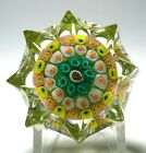 Strathearn Eight Pointed Star Concentric Millefiori Paperweight with Label