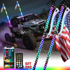 2PC 5ft RGB LED Spiral Lighted Whip w Flagpole Antenna IR Remote  APP Control