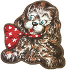 Vintage Blue Eyed Puppy Dog Big Red Bow Craft Fabric Panel Cut n Sew Toy Pillow