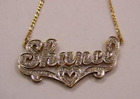 Double layer 14k gold plated name plate with heart design fast shipping