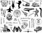 8 1 2 x 11 MILITARY rubber stamp sheet soldier army navy marines jets CMS4