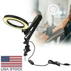 Foldable 5X Magnifying Glass Desk Magnifier Lamp Tattoo Reading LED Light