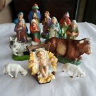 Vintage Italian Nativity Set Christmas Manger Scene 13 Figurines Made In Italy