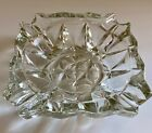 Vintage thick crystal clear glass ashtray dismond starcut pattern cigarette