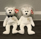 2001 Retired TY Beanie Babies Mr. & Mrs. Bride and Groom Wedding Bears NEW