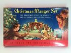 VINTAGE CHRISTMAS MANGER NATIVITY SET CARDBOARD CUT OUT STAND UP COMPLETE No743