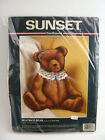 Vintage Unopened Needlepoint Kit Sunset Beatrice Teddy Bear with a Lace Collar