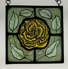 Stained Glass Hand Painted Kiln Fired Yellow Rose 1406 05