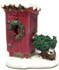 Lemax Village Scene Christmas Decorated Outhouse Racoon Wreath Snow