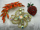 VINTAGE ESTATE JEWELRY LOT OF 3 PRONG SET GLASS CRYSTAL RHINESTONE BROOCH PIN