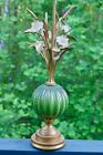 Hollywood regency Murano Barovier  Toso Green And Gold Flowers Glass Lamp 40