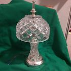 Vintage Crystal Cut Glass Small Table Lamp with Matching Shade 12 needs cord