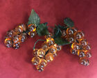 3 Vintage Glass Amber Color Grapes  Leaves Wired Clusters