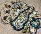 Vintage Estate Lot 42 Pcs Blues Brooches Necklaces Earrings Rhinestones Glass