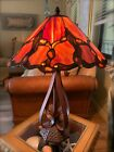Arts  Crafts Mission Style Stained Textured Leaded Glass Table Lamp FREE SHIP