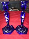 2 FENTON Cobalt BLUE Candle Stick Holder Art Glass Hand Painted SIGNED 8 Tall