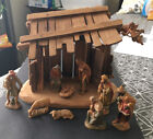 Vintage Anri Kuolt Nativity 3 Scale 11 piece Stable Angel Christmas Italy WOOD