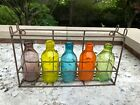 Tabletop or Hanging Glass  Faux Rust Metal Plant or Flower Holder Display Piece