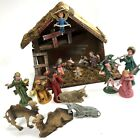 VTG Manger Nativity Scene Made In Italy with Plastic Figures Animals Rustic
