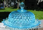 Vintage Fenton Aqua Blue Opalescent Hobnail Round Butter Keeper Covered Dish
