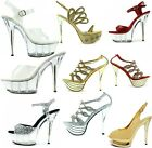 Womens High Heel Stiletto Perspex Platform Sandals Sexy Clear Party Shoes Glass