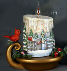 Ceramic Bisque Ready to Paint Small Christmas Candle with scene