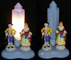 Antique 1930s Colonial TV Lamp Blue Glass Figural Tabletop Lamp Electric Light