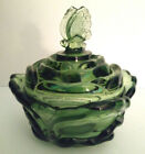 Vintage Fenton Rose Bowl Butterfly Covered Candy Dish