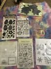 Random acrylic and rubber stamp lot of 7 Easter Fall CHRISTMAS