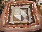 QUILT TOP 2 Logs+2 Courthouse Blocks PLUS in Browns 53Sq HANDMADE in USA 0528A