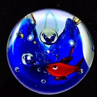 Vintage Murano Art Glass Paperweight Fish Sea World Water Glass 2T 2W Red Boue