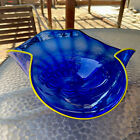 Large Hand Blown Cobalt Blue  Yellow Trim Serving Bowl Plate White Waves Curved