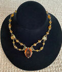 Absolutely Gorgeous Vintage Czech Amber Glass Lavelier Necklace Circa 1930s