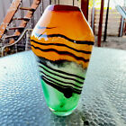 Heavy Murano Blown Glass Vases Orange  Green Black Waves Red Top Clear Base