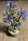 Vintage Periwinkle Slag Art Glass Flowers Wrapped Wire In pot 4
